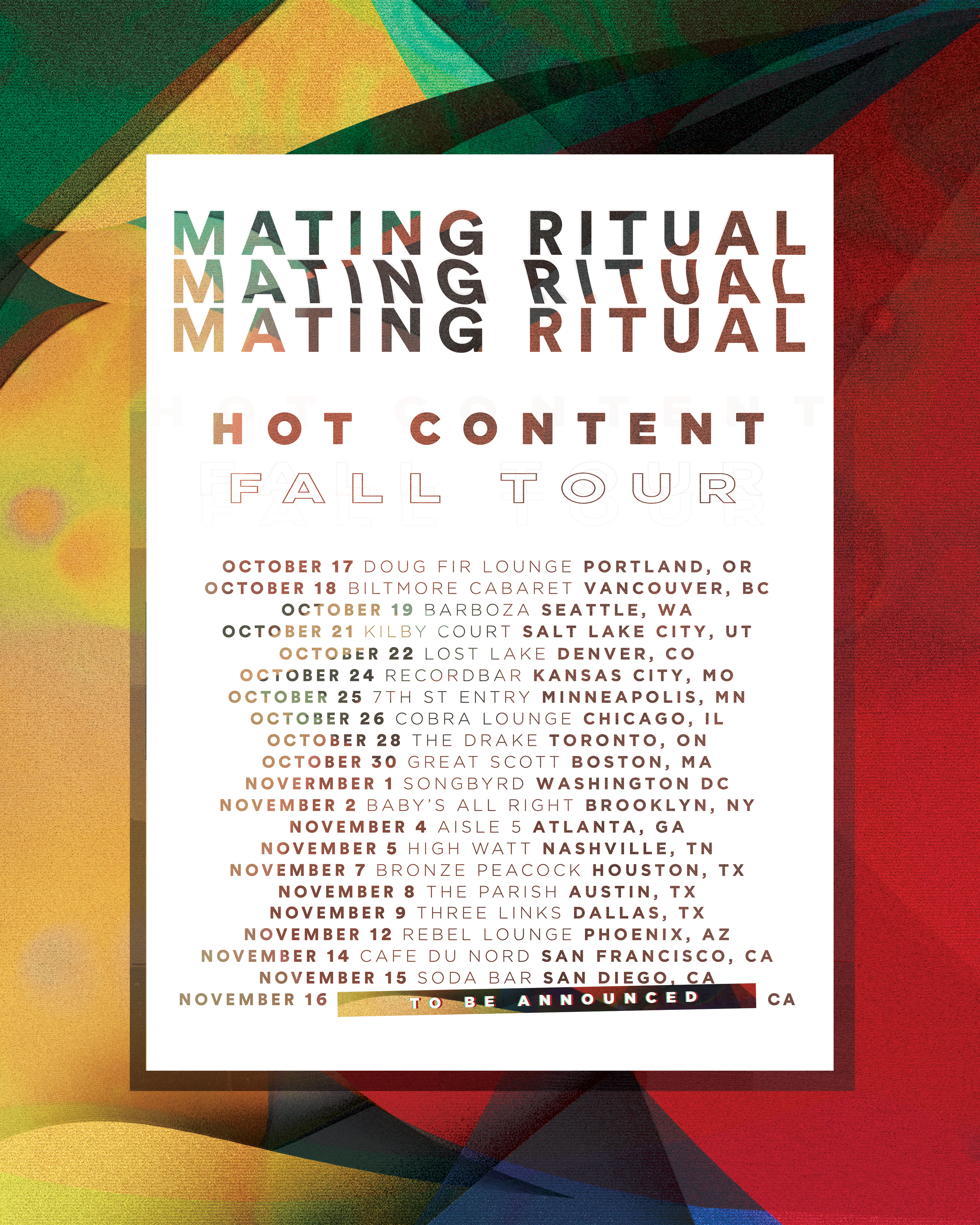 Mating Ritual tour